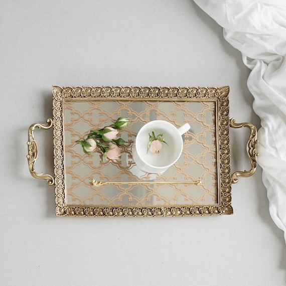 Wedding Tray Decorative Tray Carving Frame Floral Pattern Etsy