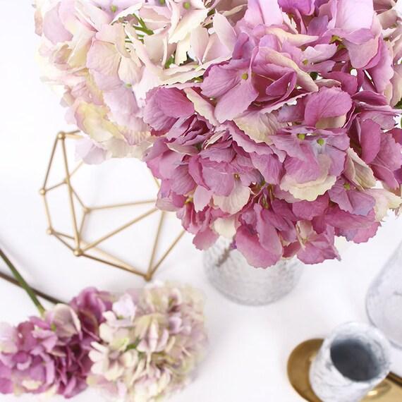 Faux Flower Silk Hydrangea Stem in Light Blue 18 Tall