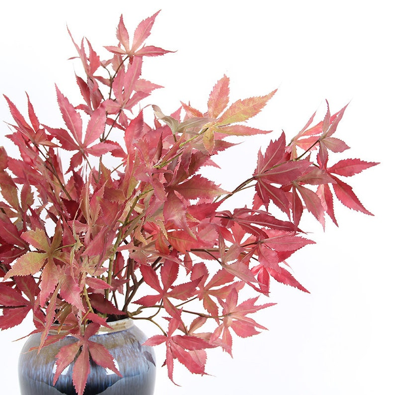 Artificial Red Maple Leaf Stem 29 Tall