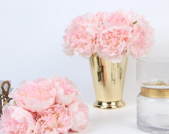 "Luxury Silk 5 Peony Bouquet in Light Pink 10"" Tall"