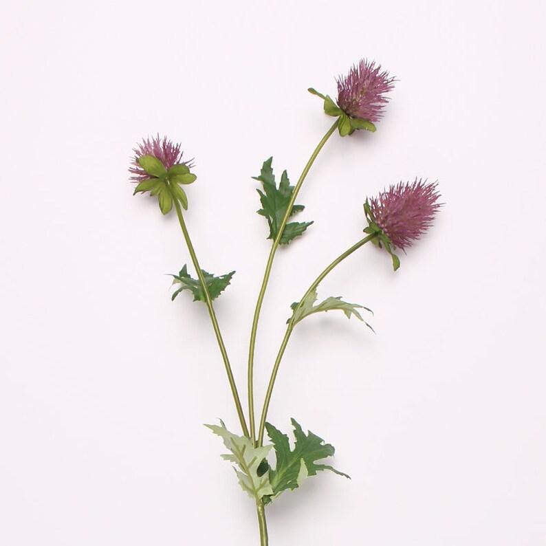 Artificial Eryngium Flower Stem in Red 24 Tall