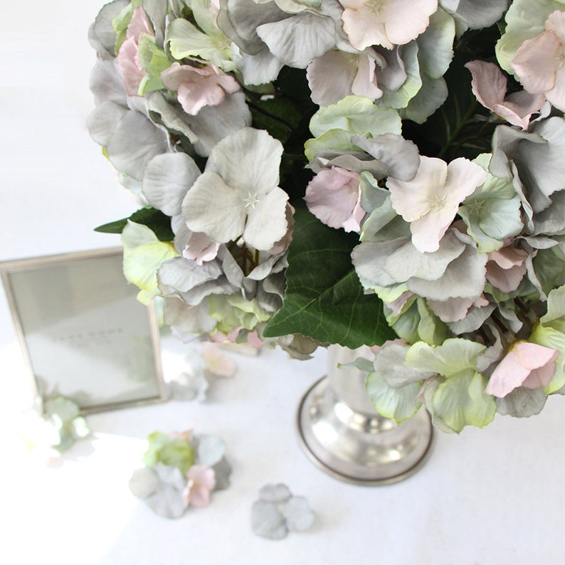 Luxury Silk 5 Hydrangea Bloom Bunch in Mixed Blue Pink and Green 18 Tall