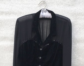 Black Sheer & Crushed Velvet Sweetheart Blouse