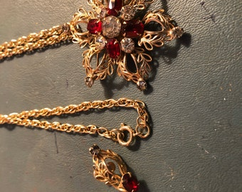 1940/'s Scitarelli Gilded Metal Brooch  Pendant Amethystine Garnet Octagon Facetted  Rhinestones Ice Clear Chatons Includes Fine Chain