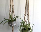 Hanging NATURAL Wood Bead Accent JUTE Macrame Planter - Indoor Outdoor Decorative Rope Vintage Plant 30 quot 36 quot 42 quot Set of 3 Set of 2