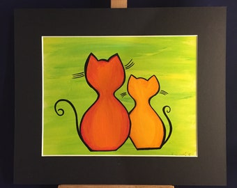 Cat lady dream Painting acrylic  paper black mount