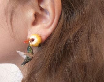 OOAK Hummingbird earrings
