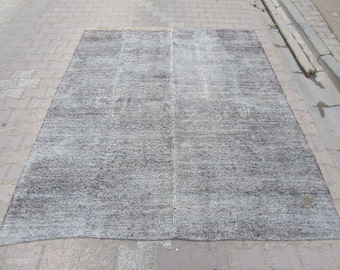 7x8.4 Ft Vintage handwoven gray Turkish cotton and goat hair kilim rug
