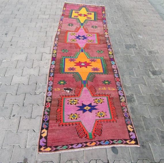 3x9.8 Ft Decorative Geometric Turkish Herki Runner Rug