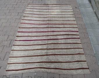 Striped Vintage Turkish Kilim Rug