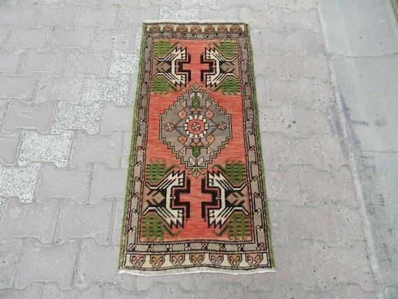 1.7x3.4 Ft Vintage washed out mini turkish Oushak rug  Home decor
