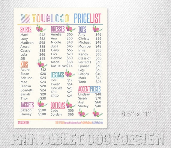 photo relating to Lularoe Price List Printable titled Charge Checklist Refreshing Design 20188,5 x 11 No cost Personalization flower House Business office Accepted Electronic PRINTABLE