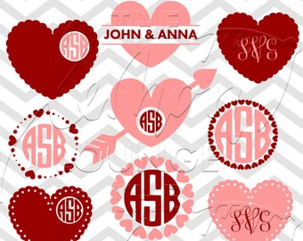 Heart Monogram Svg Valentine S Day Svg Love Monogram Etsy