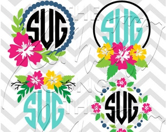 Flower Monogram svg, 6 floral monogram svg, flower svg, hibiscus monogram svg, monogram cut file, hawaii flower svg, commercial use OK,
