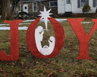 glittered mini joy christmas nativity yard sign outdoor christmas yard art wood painted nativity decoration xmas manger yard decor - Joy Christmas Decoration