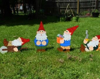 Wood Painted Garden Gnomes Yard Art, Set Of 4 Garden Gnome Yard Stakes,  Gnome Garden Lawn Yarn Stakes, Garden Elf, Garden Dwarf