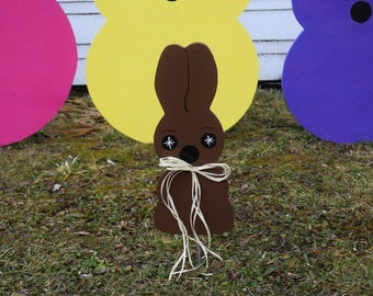Chocolate Easter Bunny Yard Stake, Outdoor Chocolate Easter Bunny  Decoration, Painted Wood Easter Garden Stake, Lawn Stake, Yard Stakes