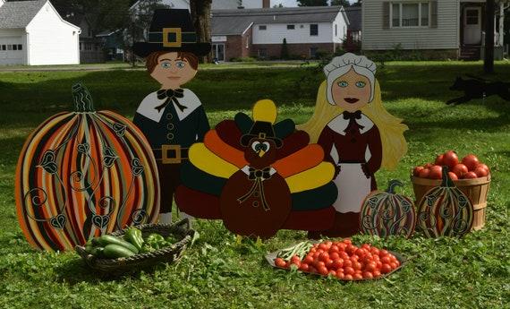 Thanksgiving Pilgrim Turkey Yard Stake
