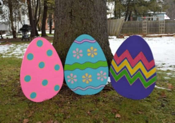 12 Large Easter Egg Yard Stakes, Wood Painted Easter Egg Yard Art, Lawn  Stakes, Garden Stakes, Painted Easter Egg Yard Decor, Outdoor Easter