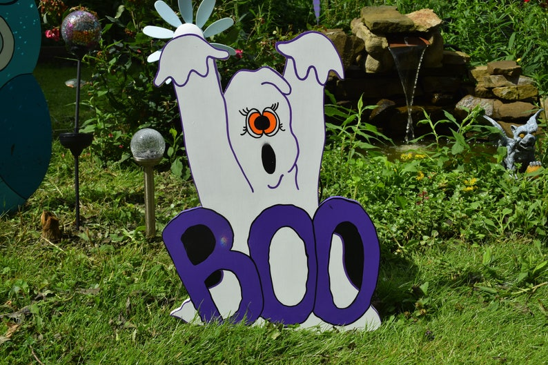 Halloween Yard.Halloween Boo Ghost Ghost Lawn Stake Halloween Yard Art Halloween Outdoor Decor Ghost Lawn Sign Wood Painted Halloween Decoration