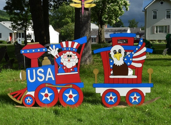 4th Of July Yard Art July 4th Wood Painted Yard Decoration Uncle Sam Yard Stake Patriotic Eagle Garden Stake Independence Day Yard Art