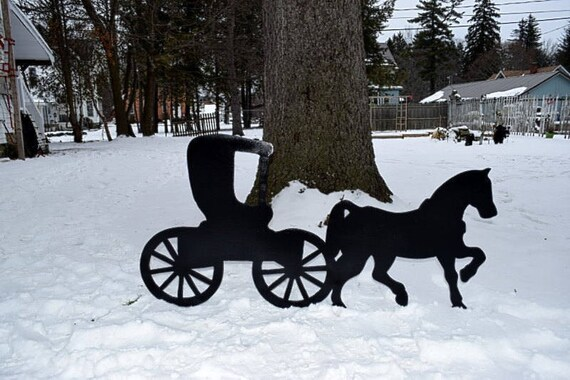 Vintage Victorian Horse and Buggy Silhouette Metal Art Wall |Metal Horse And Buggy Silhouette