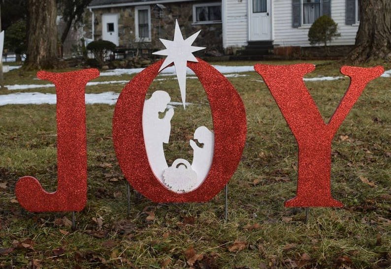 Glittered Mini Joy Christmas Nativity Yard Sign Outdoor Christmas Yard Art Wood Painted Nativity Decoration Xmas Manger Yard Decor
