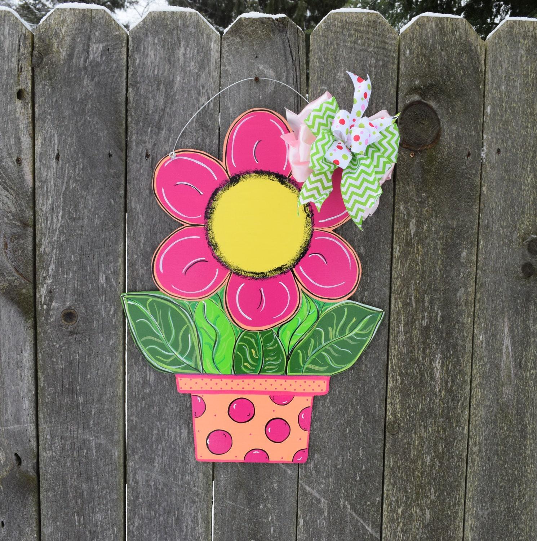 Terracotta Flower Pot Door Hanger Pink Flower Pot Spring Etsy