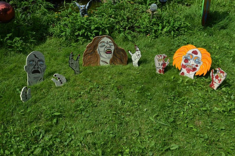 3 Piece Zombie Set Yard Art, Wood Painted Walkers, Buried Alive Zombies,  Zombie Yard Garden Lawn Stakes, Halloween Outdoor Decorations