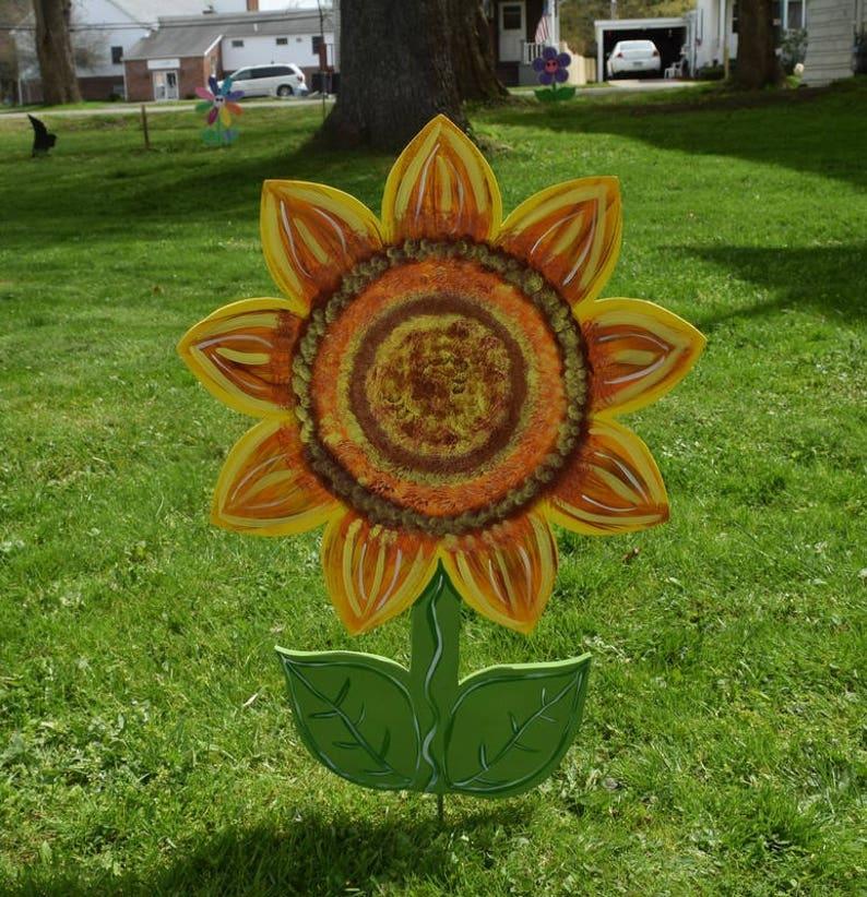 Sonnenblume Hof Kunst Geht Holz Bemalt Sunflower Garten Etsy