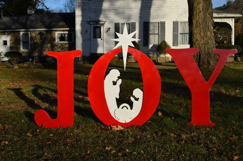 Joy Christmas Nativity Yard Sign Outdoor Christmas Yard Art Display Wood Painted Hope Nativity Outdoor Decoration Xmas Manger Yard Decor
