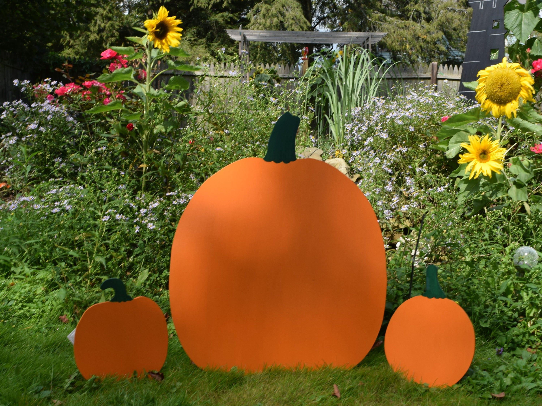Fall Thanksgiving Pumpkin 3 Piece Yard Stake Set