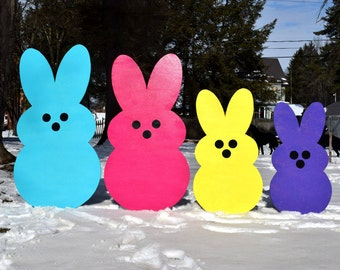 Great Giant Easter Peeps, Yard Art, Outdoor Easter Decoration, Painted Wood Yard  Art, Easter Bunny Rabbit Peeps, Garden Stake Lawn Yard Stakes