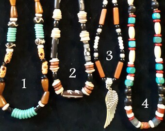 Native American necklaces made of wood - bone - shells - pearls - metal / for men