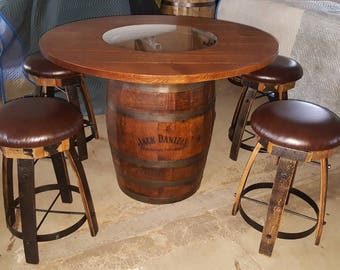 Merveilleux Jack Daniels Whiskey Barrel Table, With 4 Cushion Stave Stools   (ask For  Freight Quote)