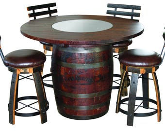 Jack Daniels Whiskey Barrel Table (Oak Top With Dark Stain), With 4 Cushion  Stave Stools WITH Backs, No Footrest   (ask For Freight Quote)
