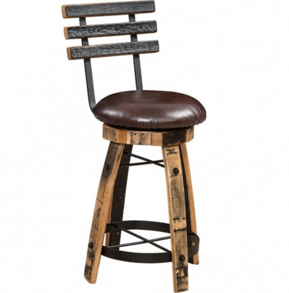 Admirable Whiskey Barrel Stave Bar Stools With Cushioned Swivel Seats And Backs Brown Or Black Cushions Bralicious Painted Fabric Chair Ideas Braliciousco