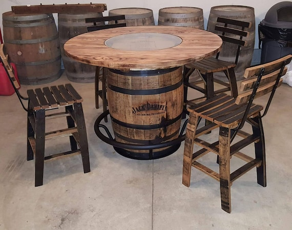 Jack Daniels Whiskey Barrel Table With 4 Stave Chairs And Etsy