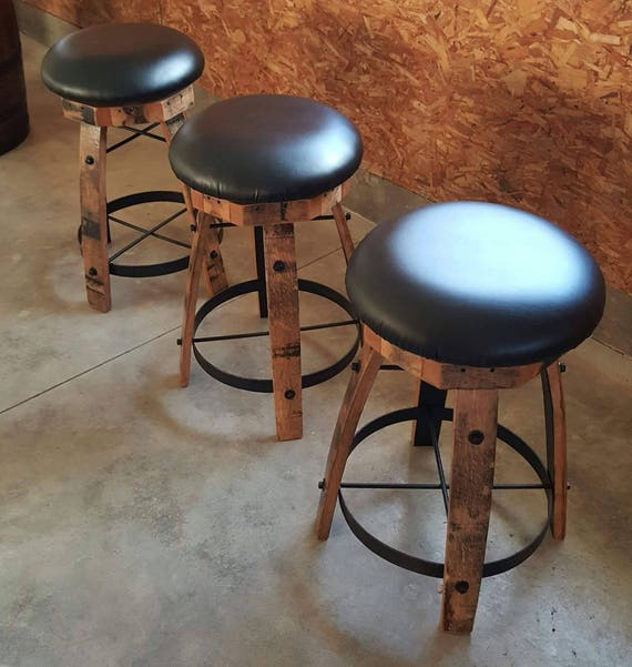 Fabulous Whiskey Barrel Stave Bar Stools With Cushioned Swivel Seats Pdpeps Interior Chair Design Pdpepsorg