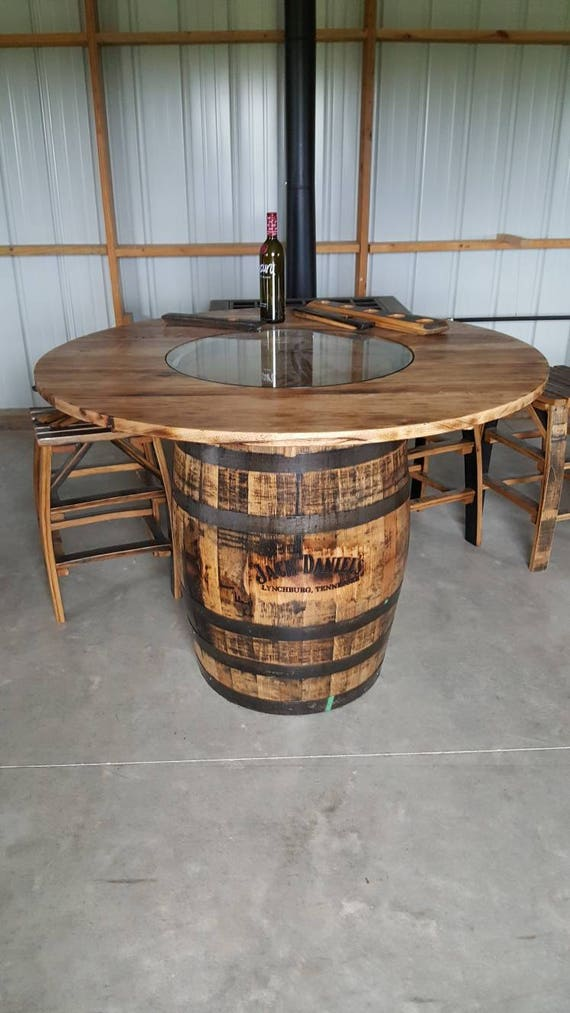 Whiskey Barrel Table With Jack Daniels Barrel With Footrest Etsy