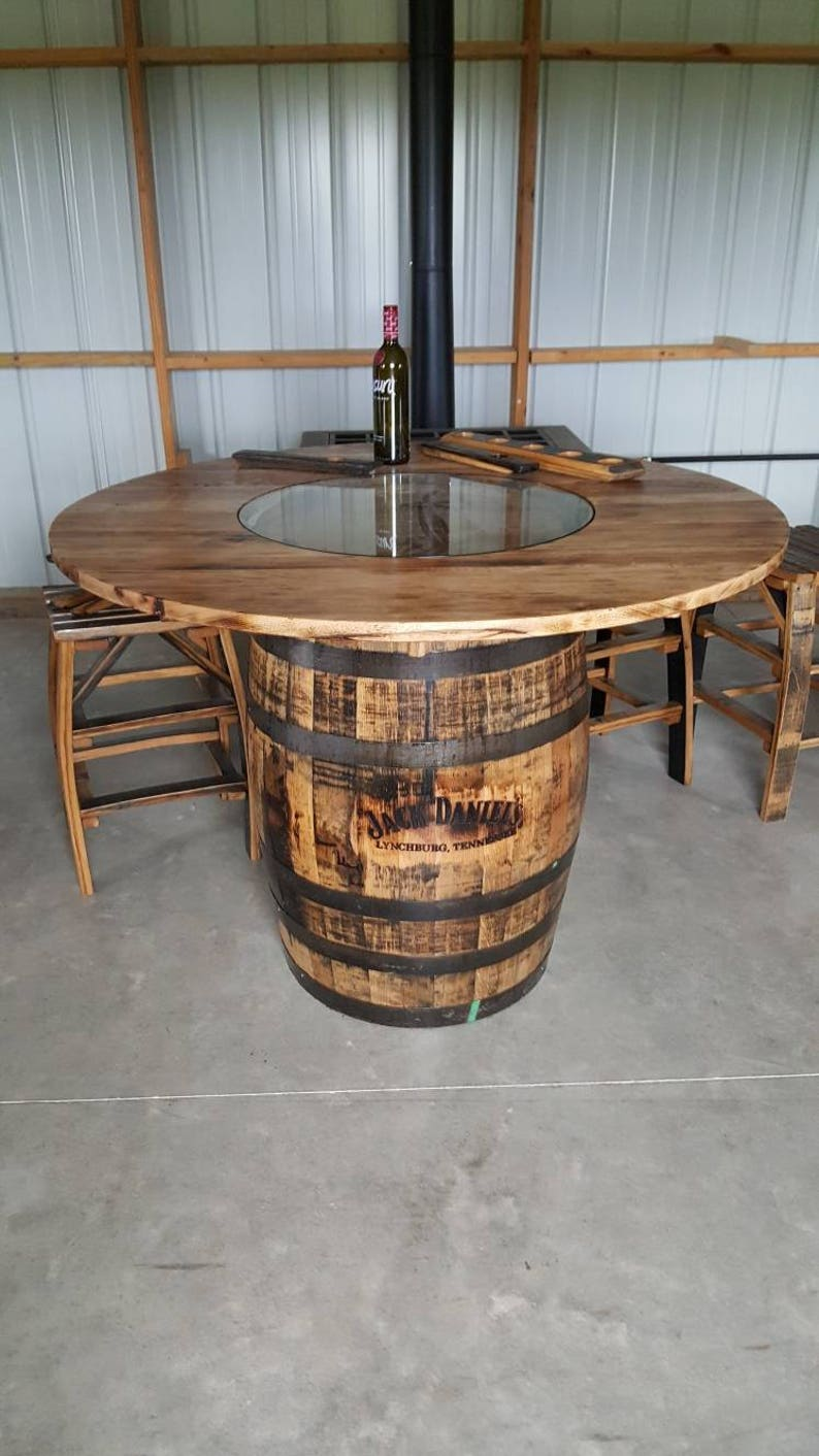 Astounding Whiskey Barrel Table With Jack Daniels Barrel With Footrest Download Free Architecture Designs Scobabritishbridgeorg