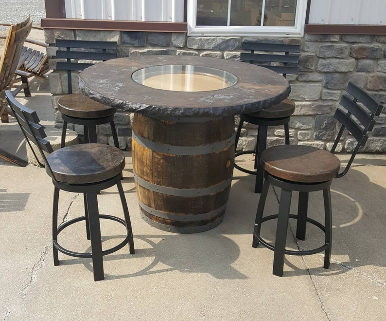 Tremendous Whiskey Barrel Table With Concrete Top And 4 Chairs With Swiveling Concrete Seats Outdoor Use Download Free Architecture Designs Scobabritishbridgeorg