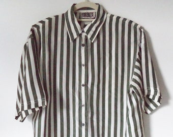 8cbe1540 80s silk striped button down oversize shirt / Olive green white minimalist  hipster short sleeve blouse / Vintage 1980s FORENZA/ Womens small