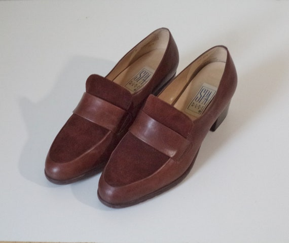 d7efd023a19 90s Leather chunky heel soft loafers   Chocolate brown suede