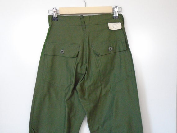 1970s high waist army green pants old stock NEW w