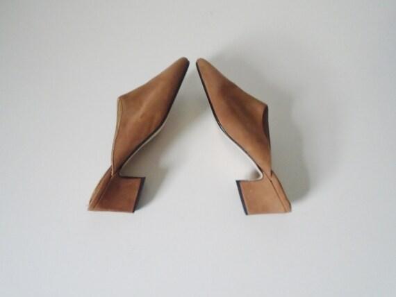 Vintage suede leather mules w heels tan brown 1990