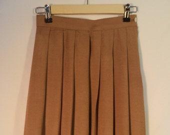 Vintage high waist accordion skirt// 1960's tan fan pleated full mid length// Maison de Toiles Tokyo New York// XS 0 2 USA 25 W