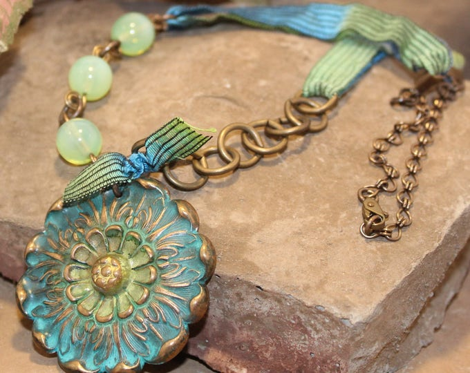 """Bohemian Dream"" Brass & Beaded Necklace"