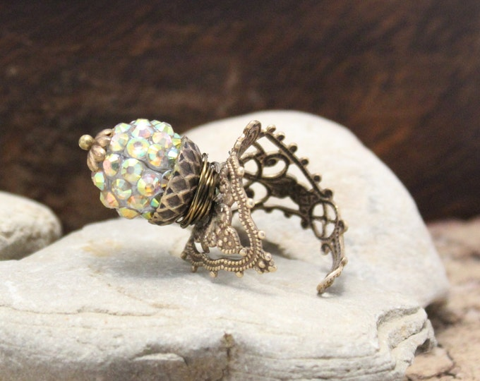 """Golden Globe"" Adjustable Filigree Ring"