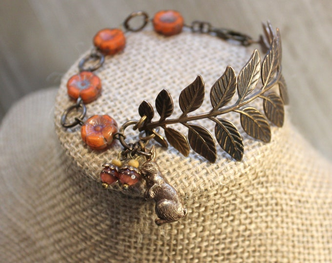 """Forest Bunny"" Brass Beaded Bracelet"